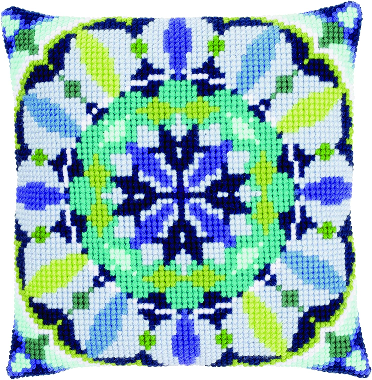 Amazon.com: Impreso Cojín de punto de cruz: Azul rosetón ...