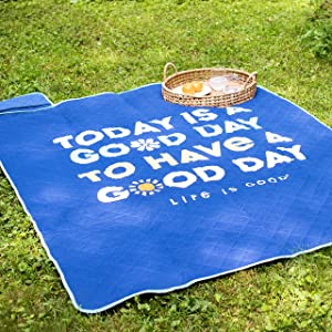 Berkshire Blanket & Life is Good Packable Outdoor Super Soft Cozy Warm Luxury Cotton Throw, Navy, 55