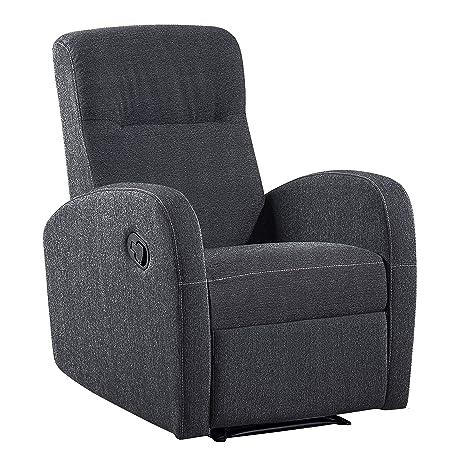 Adec - Sillon relax tapizado Home, sillon de descanso, sillon reclinable, color Gris Marengo, medidas: 70 cm (largo) x 100 cm (alto) x 97 cm (fondo)