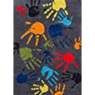 Momeni Rugs LMOJULMJ17GRY3050 Lil' Mo Whimsy Collection, Kids Themed Hand Carved & Tufted Area Rug, 3' x 5', Multicolor Handprints on Grey
