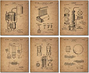 Whiskey Patent Wall Art Prints - Set of 6 Vintage Whisky Photos