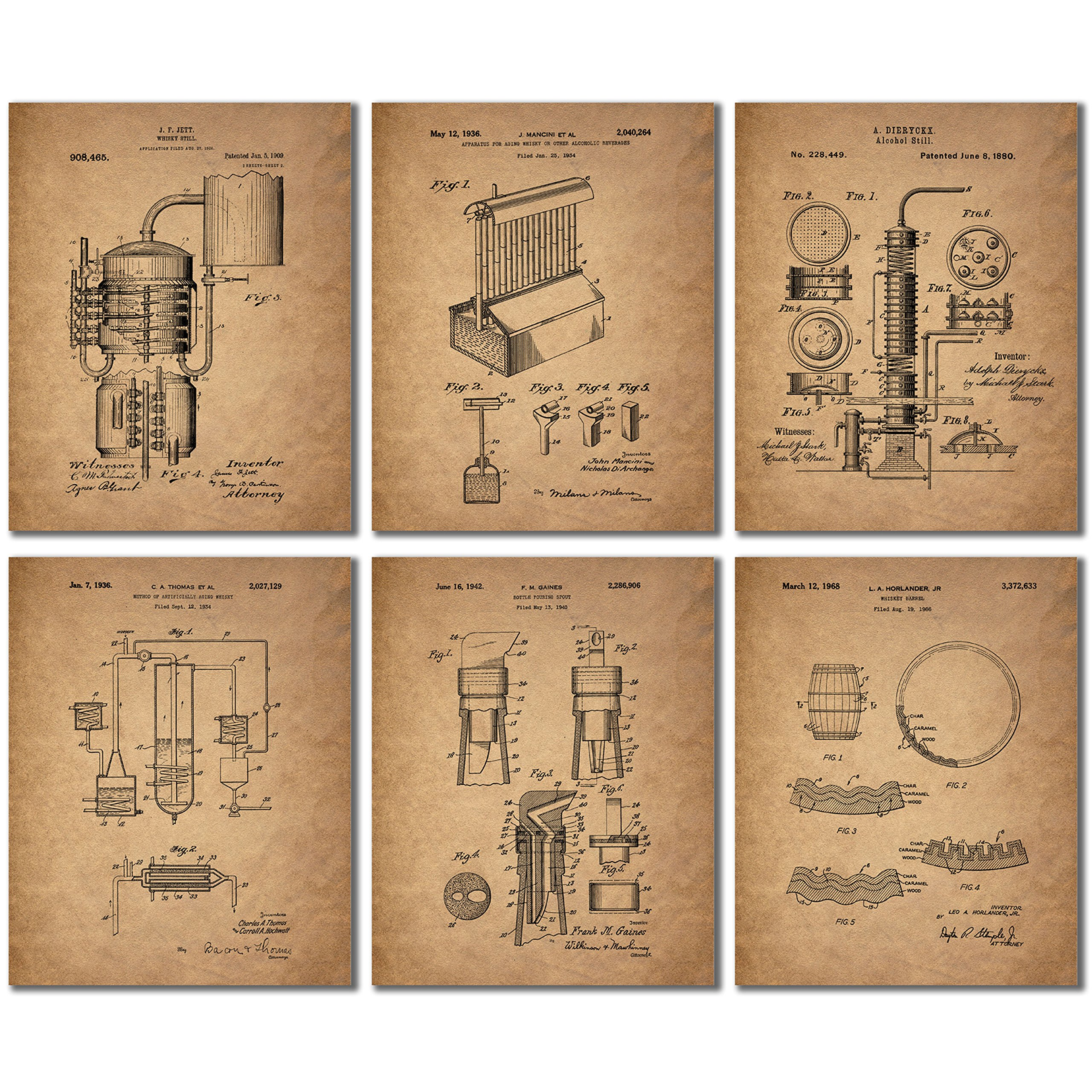 Whiskey Patent Wall Art Prints - Set of Six Vintage Whisky Photos by BigWig Prints
