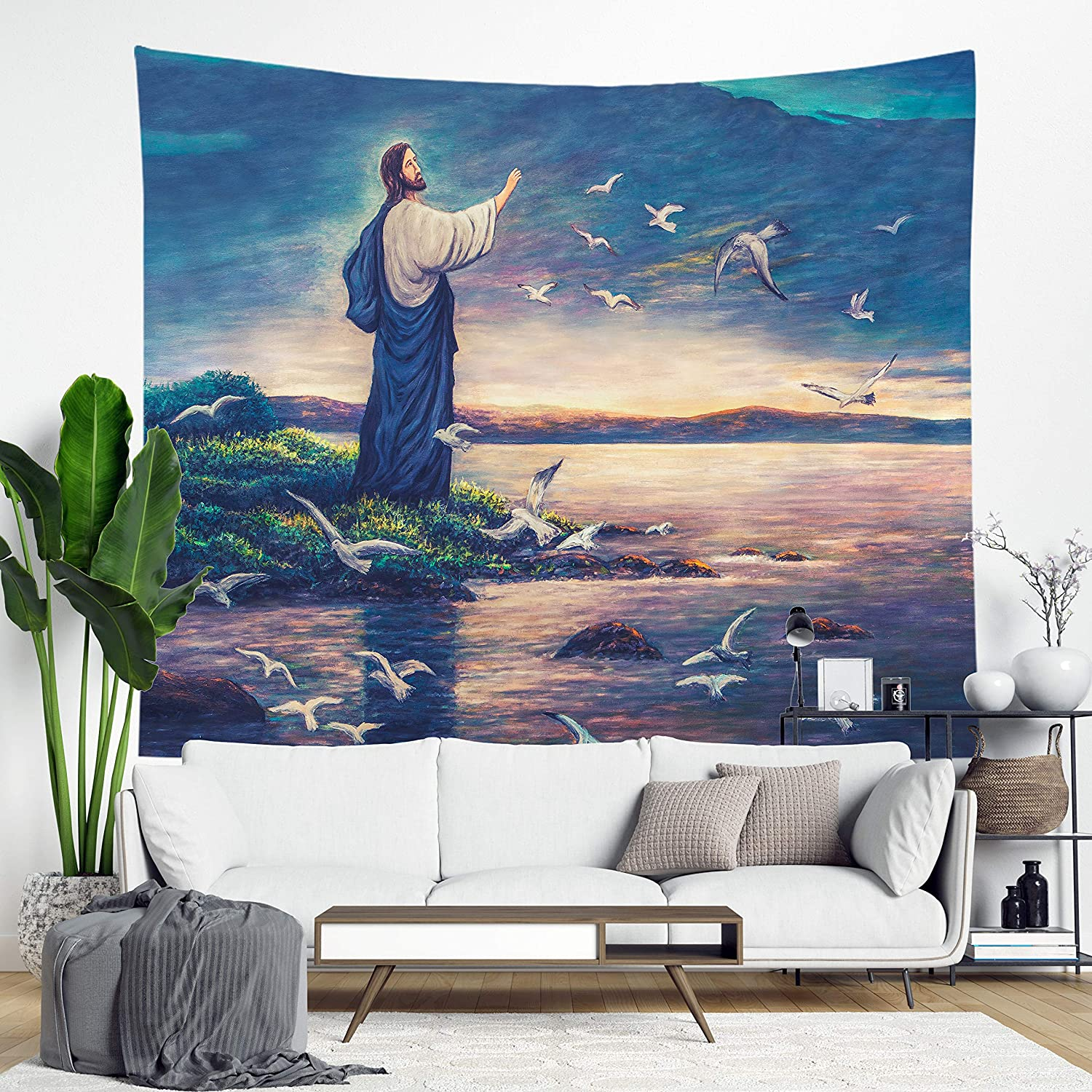 DuftGu Jesus Tapestry ChristianReligious Wall HangingTapestryJesus with Seagulls Wall Art for Home Bedroom Living Room Dorm Decor 51x60 Inches