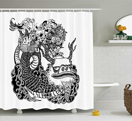 Amazon.com: Asian Shower Curtain by Ambesonne, Eastern Mythological ...