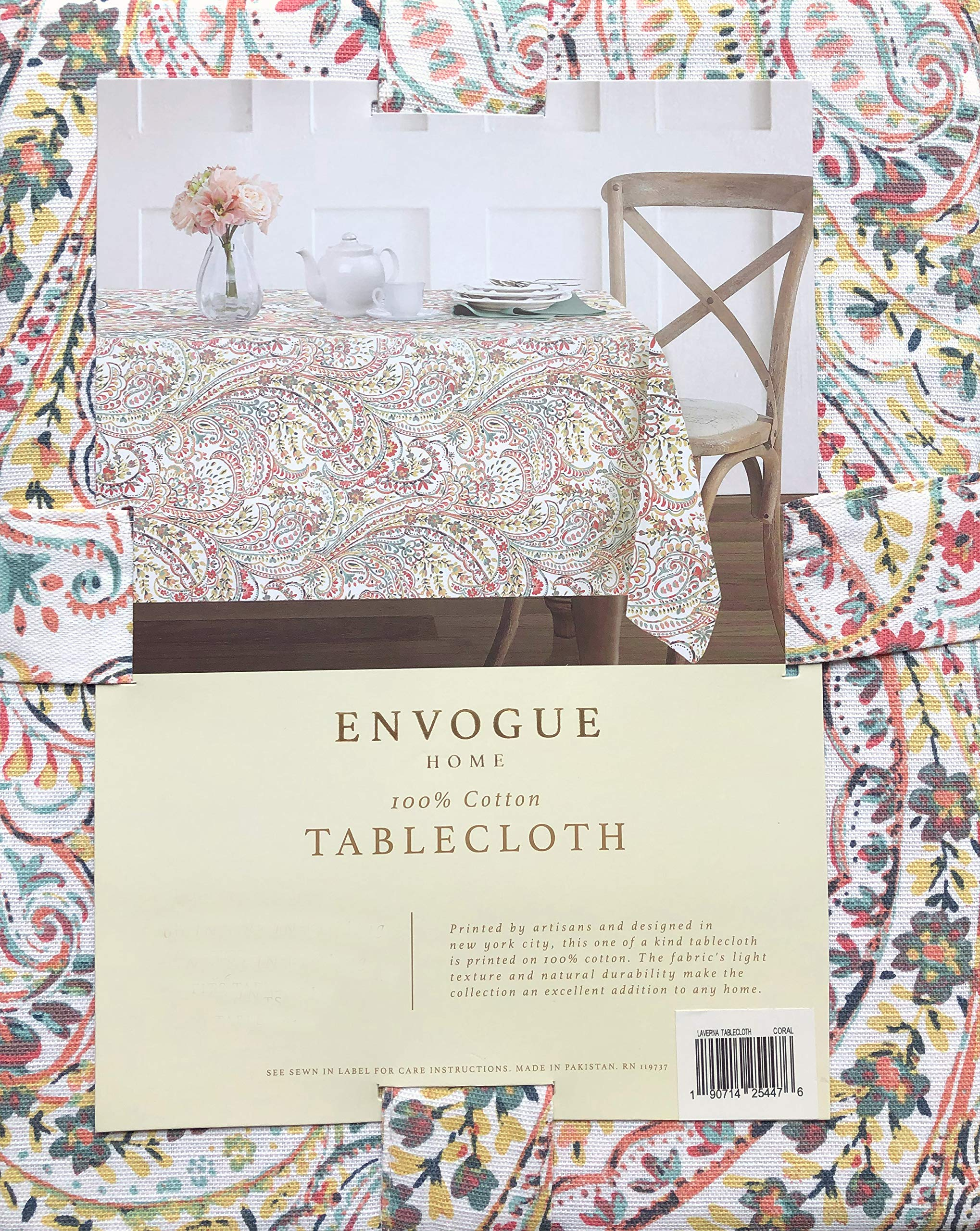 Cynthia Rowley Jacobean Floral Paisley Pattern Tablecloth Blue Orange Red Green on White 60 x 104 Water Resistant Easy Care Seat 8-10