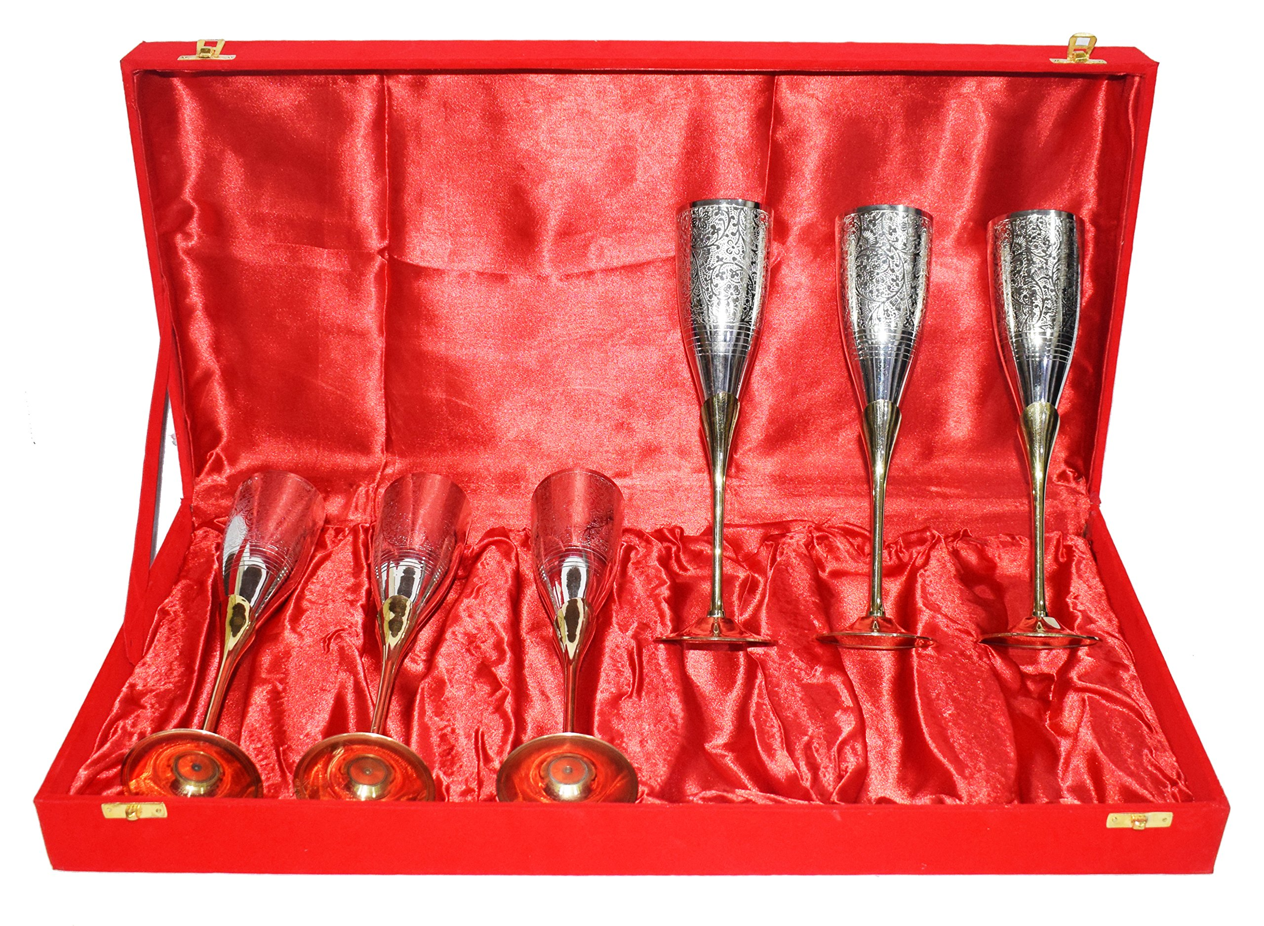 Gold Silver Plated Pure Brass Engraved SET OF 6 Premium Goblet Champagne Wine Glass With Red Velvet Box Party Glass Dining Set Business Gift.. Perfect Christmas Gift … (6)