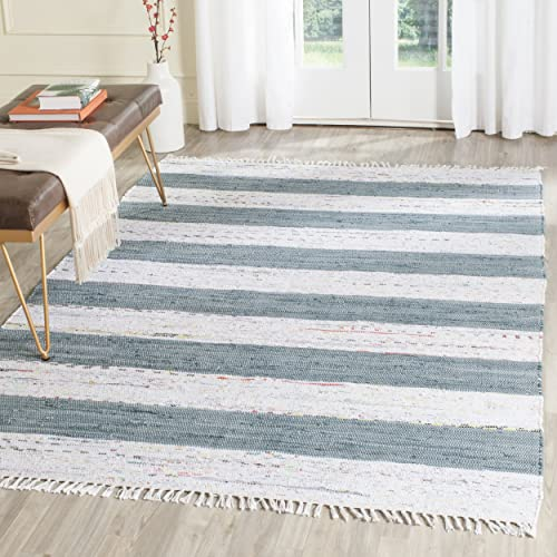 Safavieh Montauk Collection MTK720B Handmade Flatweave Ivory and Charcoal Cotton Area Rug 8 x 10