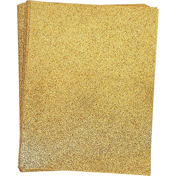 10 Sheets A4 Soft Touch Craft Glitter Cardstock 250gms Premium Sparkling Card Gold Color DIY