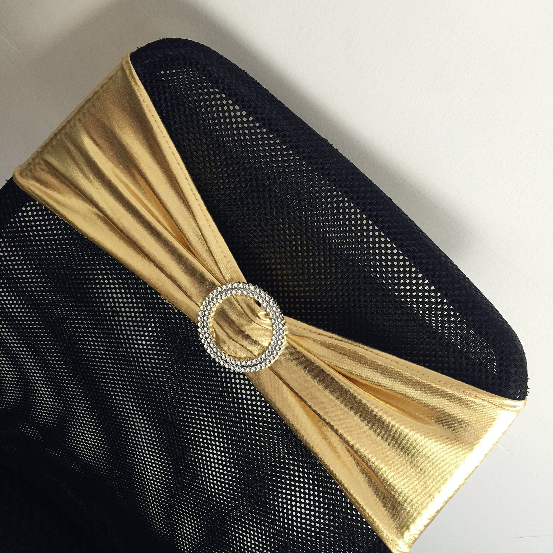 iEventStar Spandex Chair Sash Cover Stretch Band Buckle Slider Sashes Bow Hotel Wedding Banquet Decoration (50, Metallic Gold)