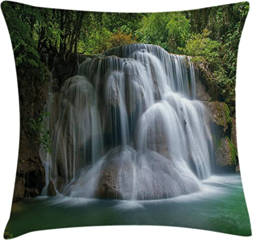 Amazon Com Lunarable Waterfall Throw Pillow Cushion Cover Building Like Massive Waterfall With Green Thai Exotic Bushes Each Side Artwork Asian Decorative Square Accent Pillow Case 26 X 26 Green Home Kitchen