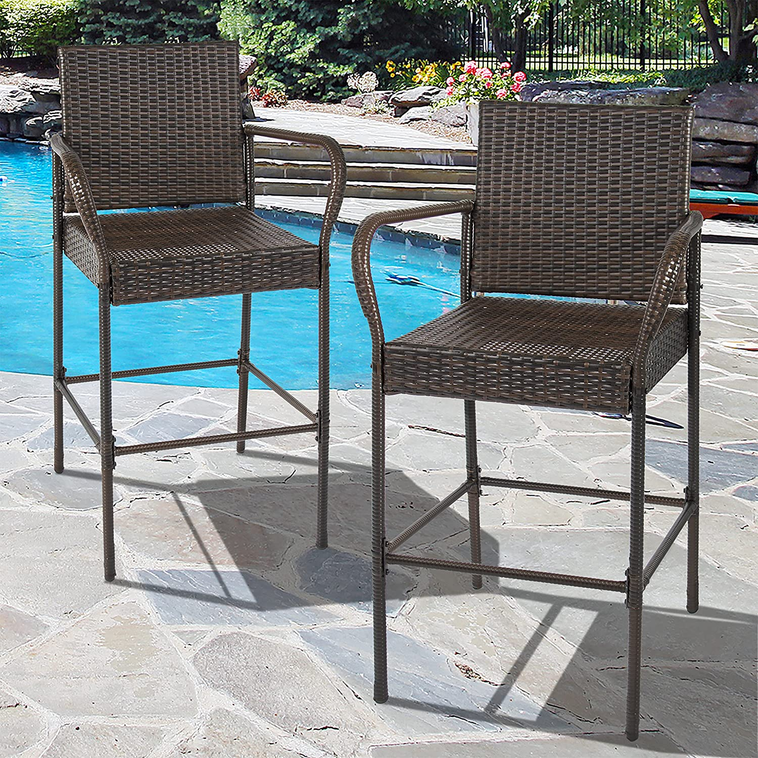 Amazon Best Choice Products Set of 2 Outdoor Brown Wicker
