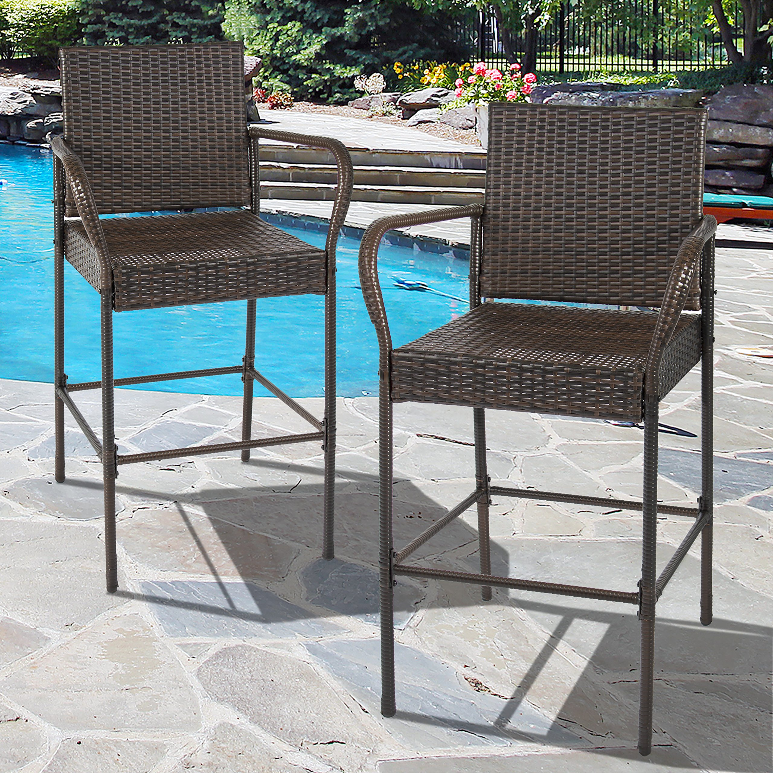 Best Choice Products Set of 2 Outdoor Brown Wicker Barstool Outdoor Patio Furniture Bar Stool by Best Choice Products