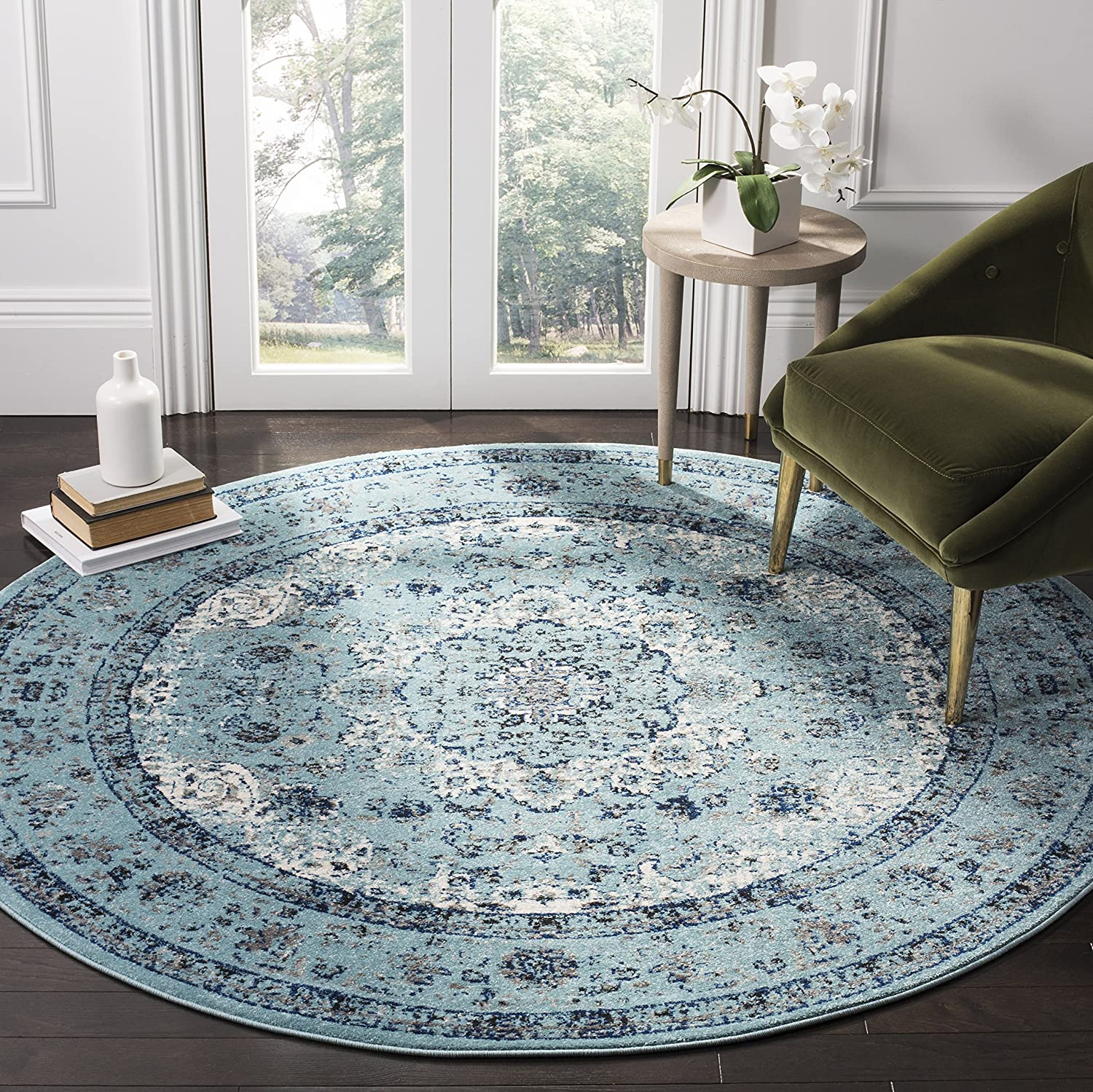 Safavieh Evoke Collection EVK220E Vintage Oriental Light Blue Round Area Rug (3' in Diameter)