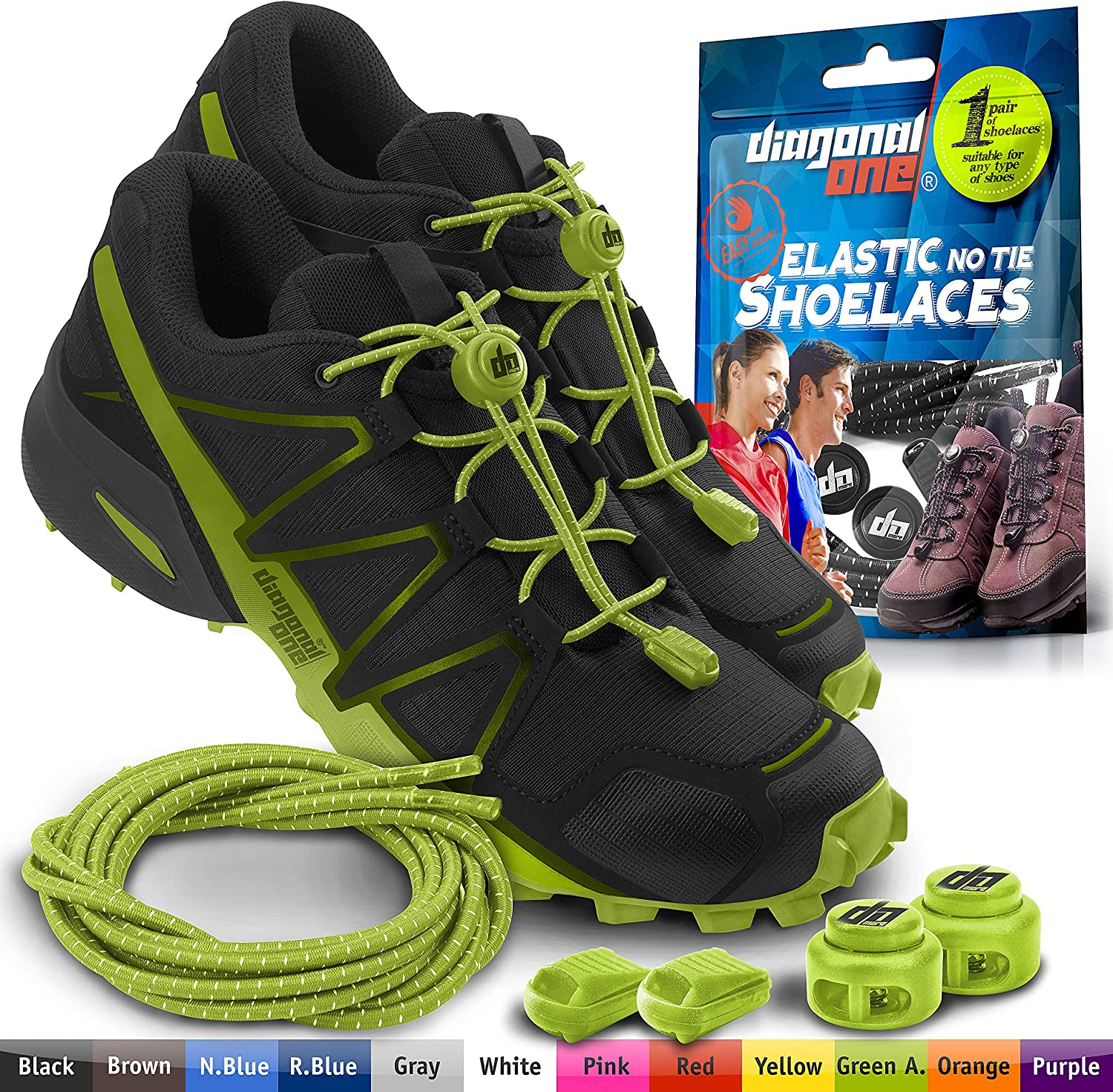 DIAGONAL ONE Elastic Shoe Laces for Men and Women, Compatible with Sneakers, Converse, Trainers, and Casual Footwear – No Tie Shoelaces Suitable for Kids, Adults, Teenagers and Seniors