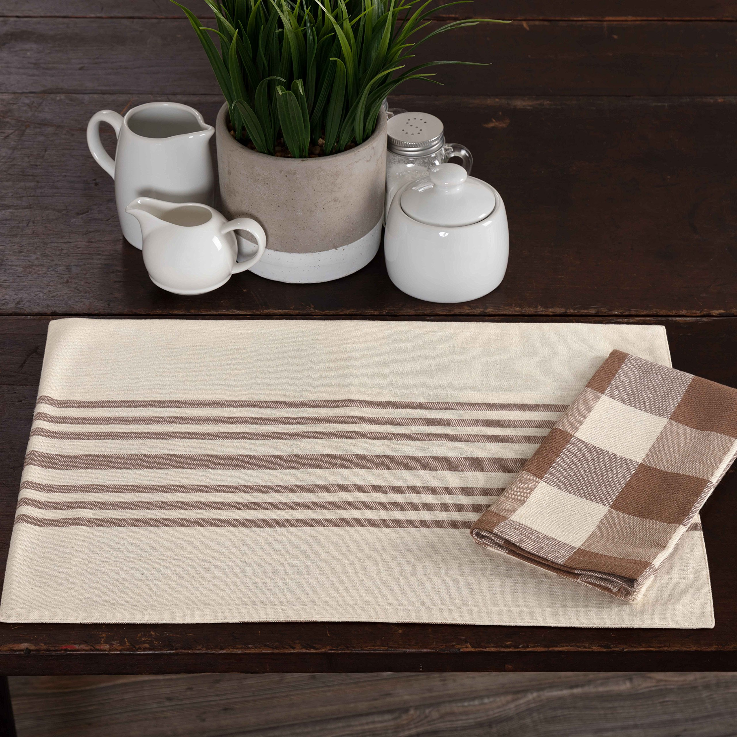 Dublin Check & Stripe Reversible Placemats, Set of 4, 12'' x 18'', Country Farmhouse Kitchen & Dining Table Décor