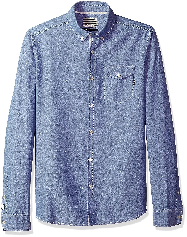 Scotch & Soda Men's AMS Blauw Clean Oxford Shirt with Chest Pocket 141253