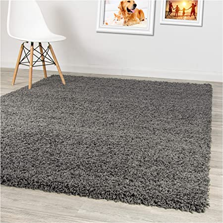 Silver 120 x170cm Fluffy Anti-Skid Thick Plain Soft Shaggy Living Room Rug Bedroom Home Floor Rugs