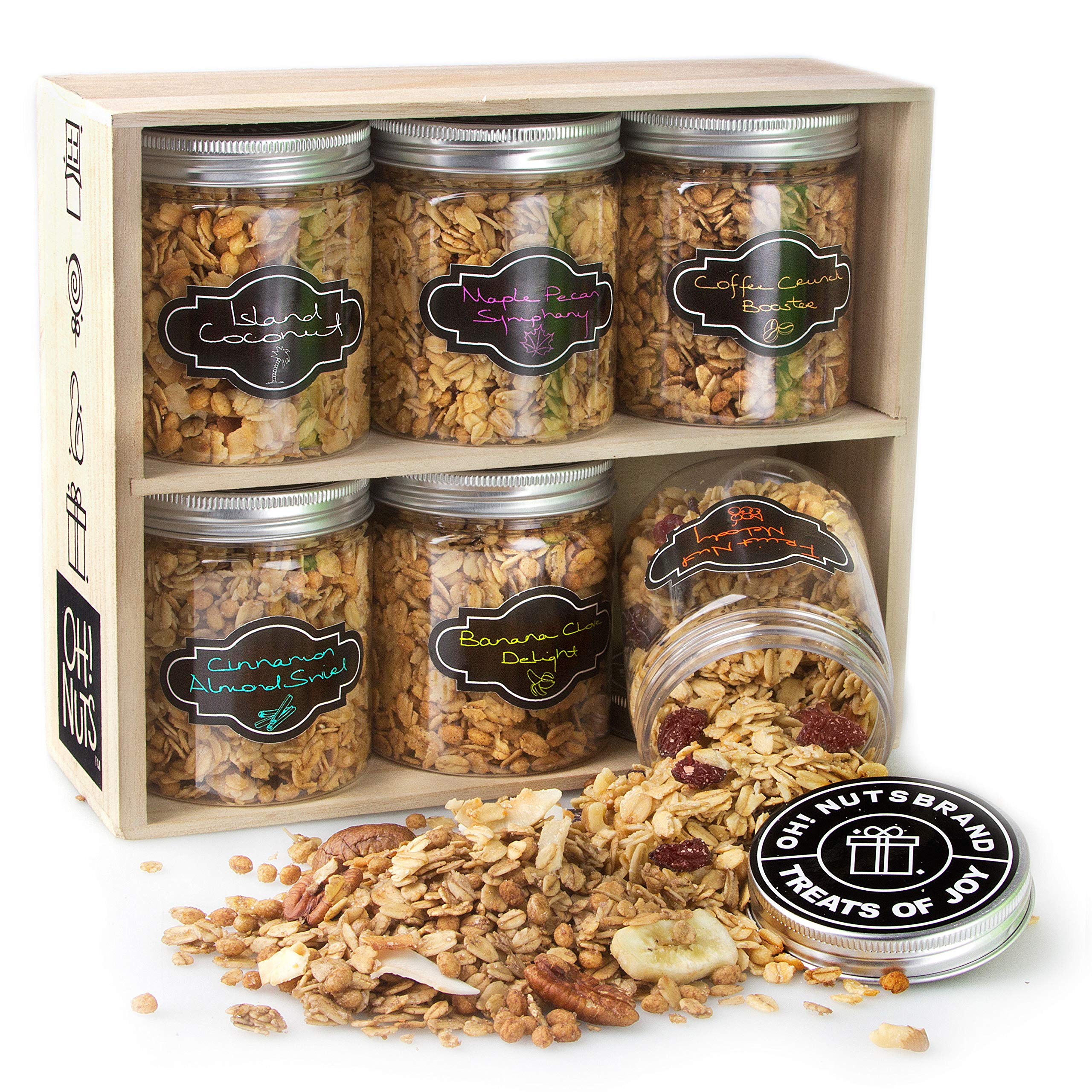 Oh! Nuts Gourmet Granola 6 Variety Gift Basket, Toasted Oats + Enhanced Protein Cereals, Christmas Breakfast Cereal Set, Holiday Valentines Day Energy Snack Gifts for Men & Women