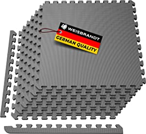 WEISBRANDT Puzzle Exercise Mat with 24'' x 24'' EVA Foam, 6 Interlocking Tiles, for Home, Gyms, Workshops, Garages, Basement, Fitness Room, Outdoor Areas, Protective Flooring Mats, Black