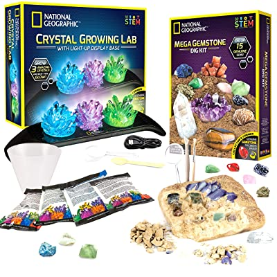 NATIONAL GEOGRAPHIC Mega Gemstone Dig and Crystal Growing Kits - Excavate 15 Real Gems, Grow 3 Vibrant Colored Crystals, Includes Full-Color Learning Guides, Great STEM Science Gift for Girls & Boys: Toys & Games