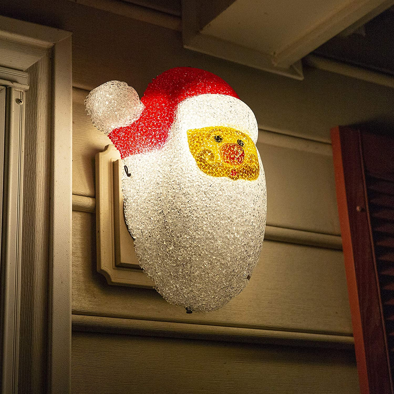 Besti Santa Porch Light Cover Holiday and Christmas Decorations | Flexible, Weather-Resistant Acrylic | No Tools or Installation Required | Fits Standard Outdoor Lighting