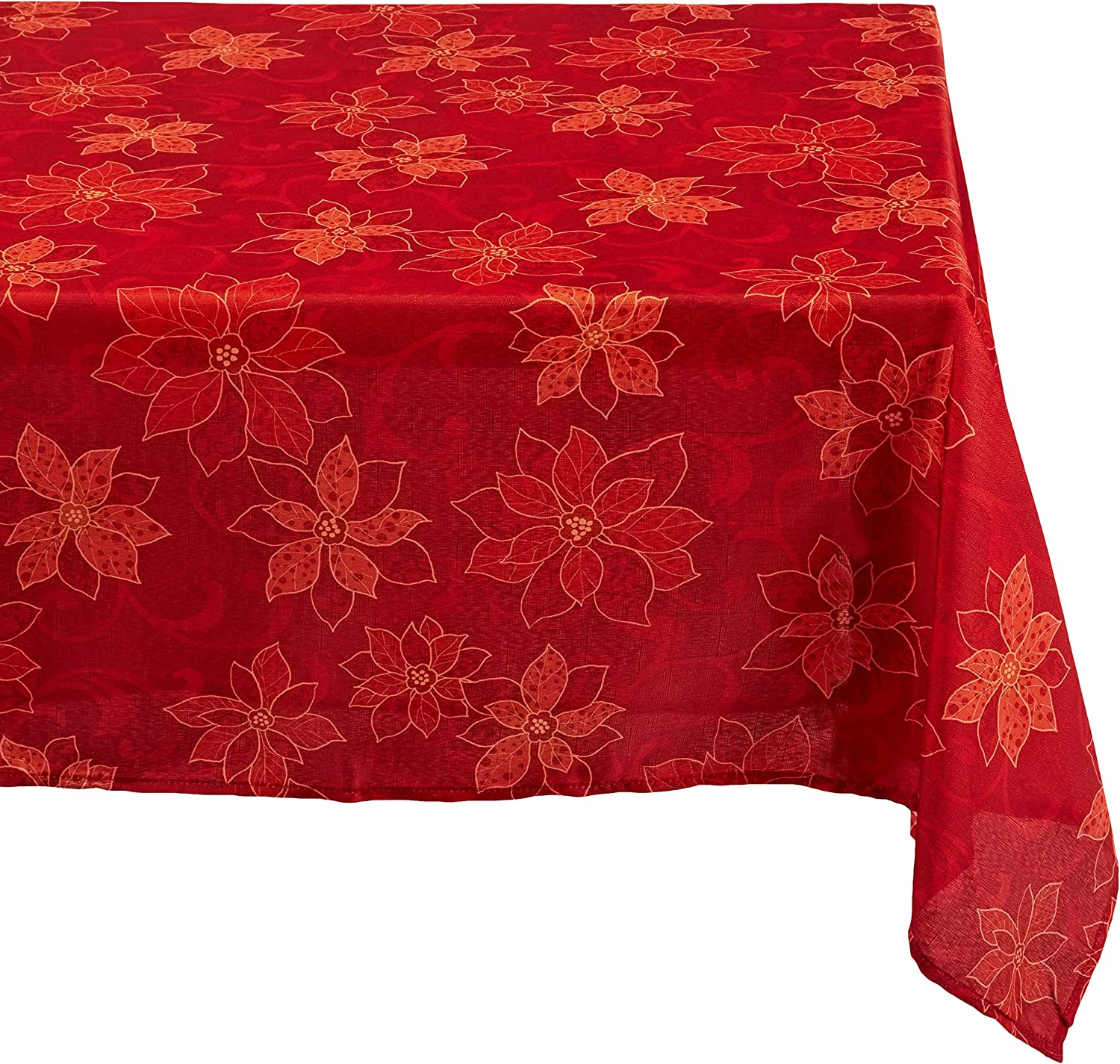 Benson Mills PoinsettiaScroll Printed Fabric Tablecloth, 60-Inch-By-84 Inch