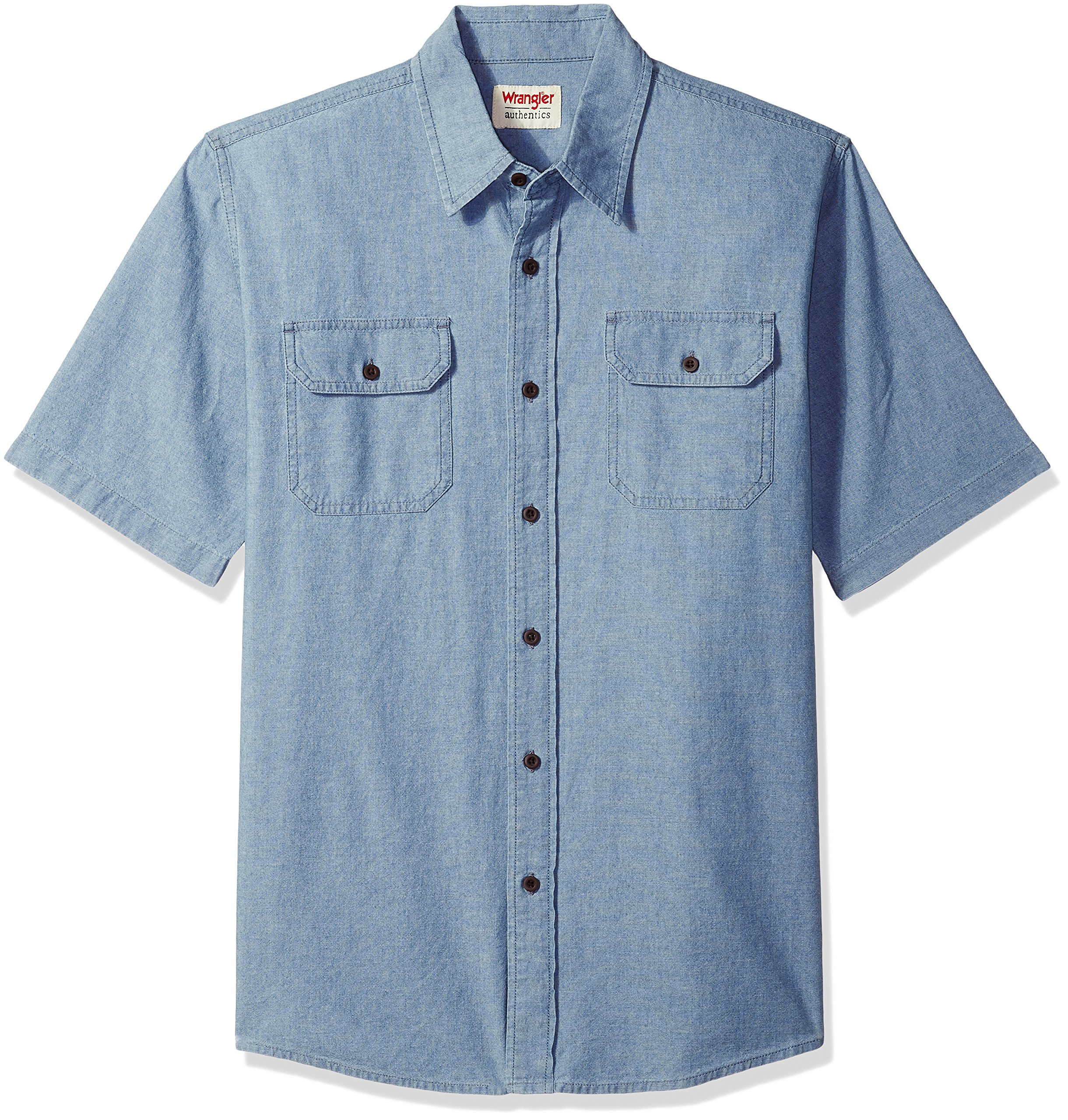 Wrangler Authentics Men's Short Sleeve Classic Woven Shirt, Light Chambray, XL