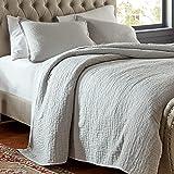 Amazon Brand – Stone & Beam Locklar 100% Cotton Lightweight Textured Full / Queen Coverlet Set, Easy Care, 90 x 90, Grey