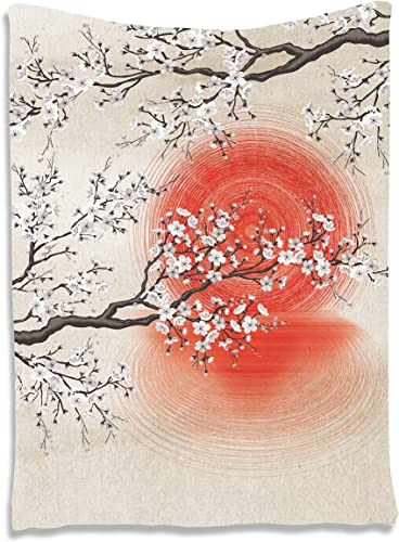 Ambesonne Cherry Blossom Tapestry, Japanese Folkloric Themed Sakura Tree, Wall Hanging for Bedroom Living Room Dorm Decor, 40 X 60 , Grey Yellow
