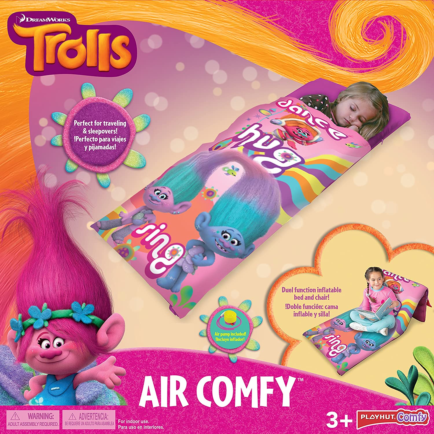 Amazon.com: Playhut DreamWorks Trolls Air Comfy Inflatable Slumber Bed Sleeping Bag: Toys & Games