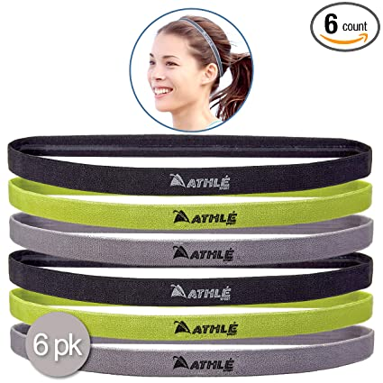 online store 0711c 82d40 Athlé Skinny Sports Headbands 6 Pack - Men s and Women s Elastic Hair Bands  with Non Slip Silicone Grip - Lightweight and Comfortable Sweatbands Keep  You ...