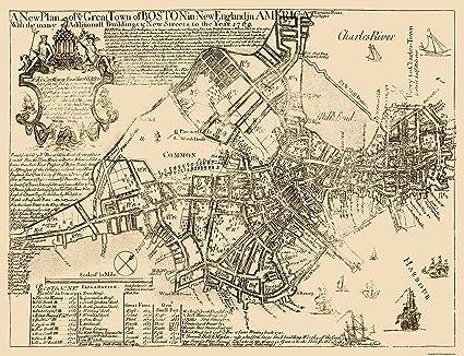 Amazon.com: Old City Map   Boston Massachusetts   1769   30 x 23