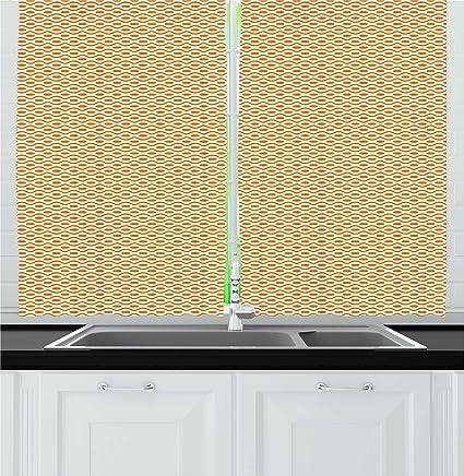 Ambesonne Retro Kitchen Curtains, Continuous Orange Wavy Pattern With  Elliptic Dots Curvy Symmetric Vintage Design