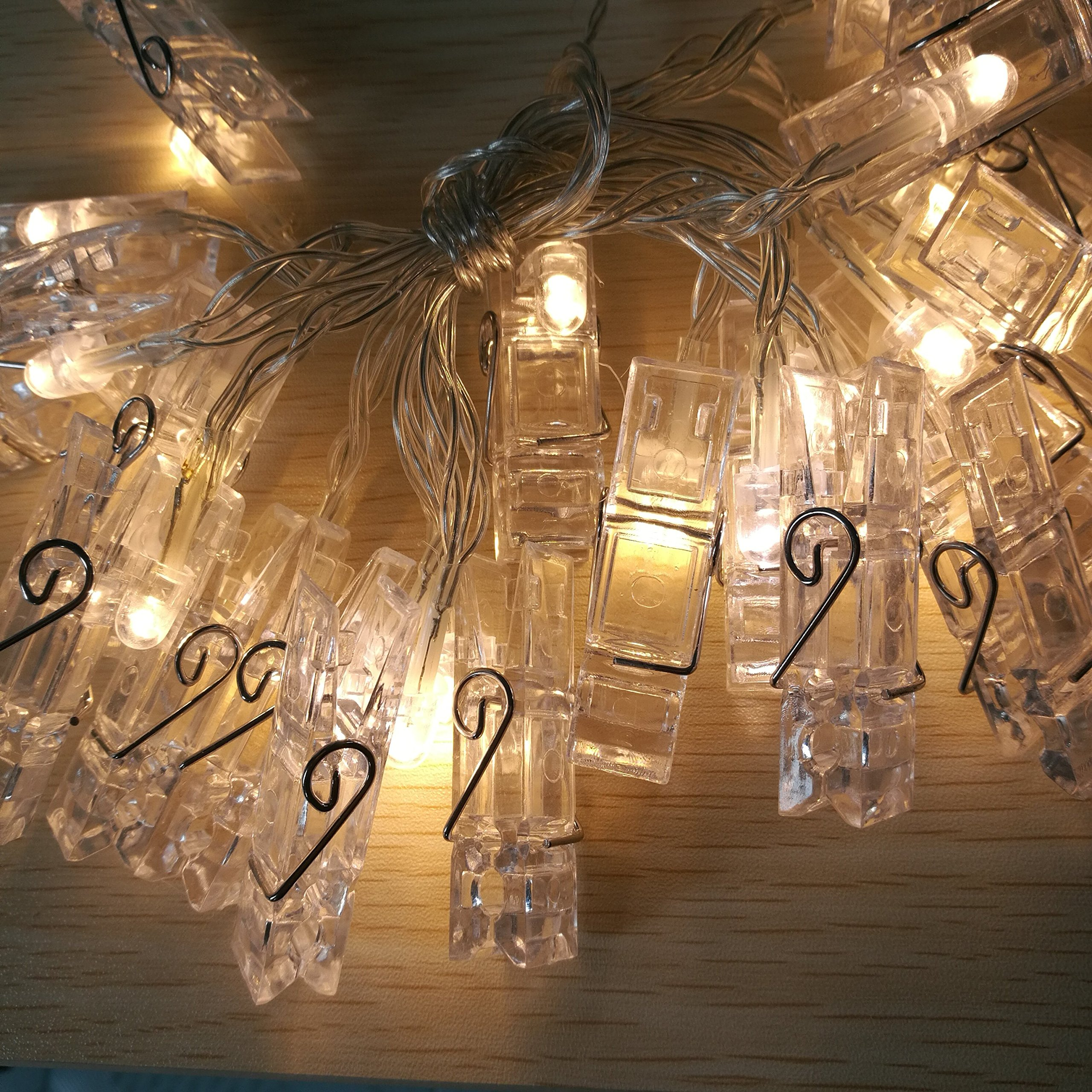 20 LED Clips Photo Clips String Lights, 6.5FT, Battery Powered, Home Decoration and Wall Decoration, Hanging Photos, Artworks, Cards(Warm White, 20 Led Clips)