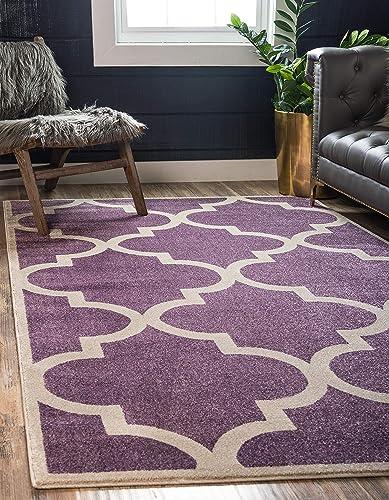 Unique Loom Trellis Collection Moroccan Lattice Purple Area Rug 9 0 x 12 0