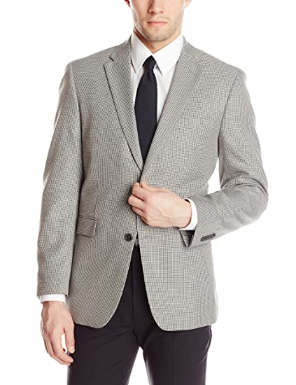 Tommy Hilfiger Men s PV Sport Coat Houndstooth, Grey, 42 Regular. Roll over  image ... 02e67e9715cb