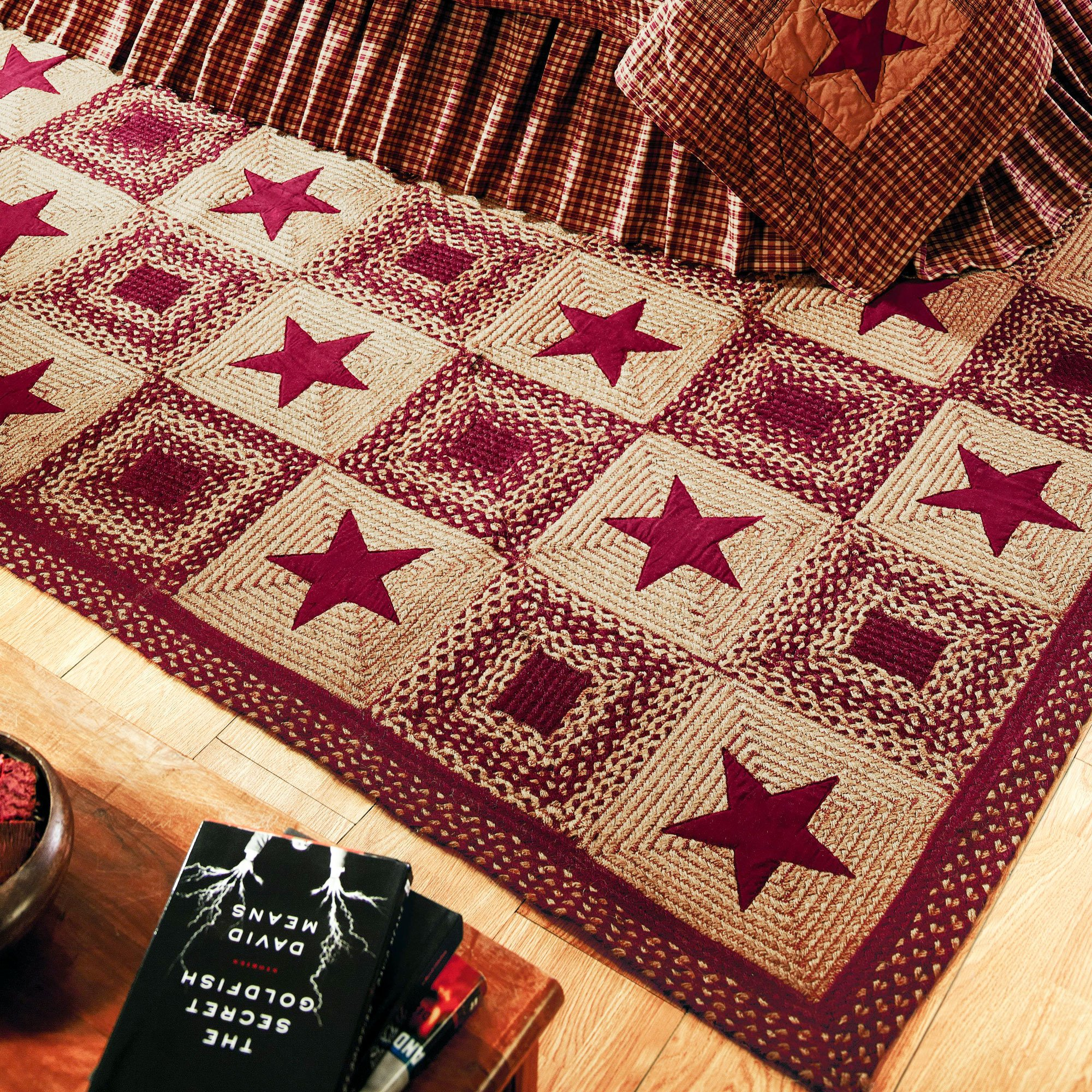 IHF Home Decor Rectangle Jute Braided Rugs 4 x 6 Feet Country Star Wine Design