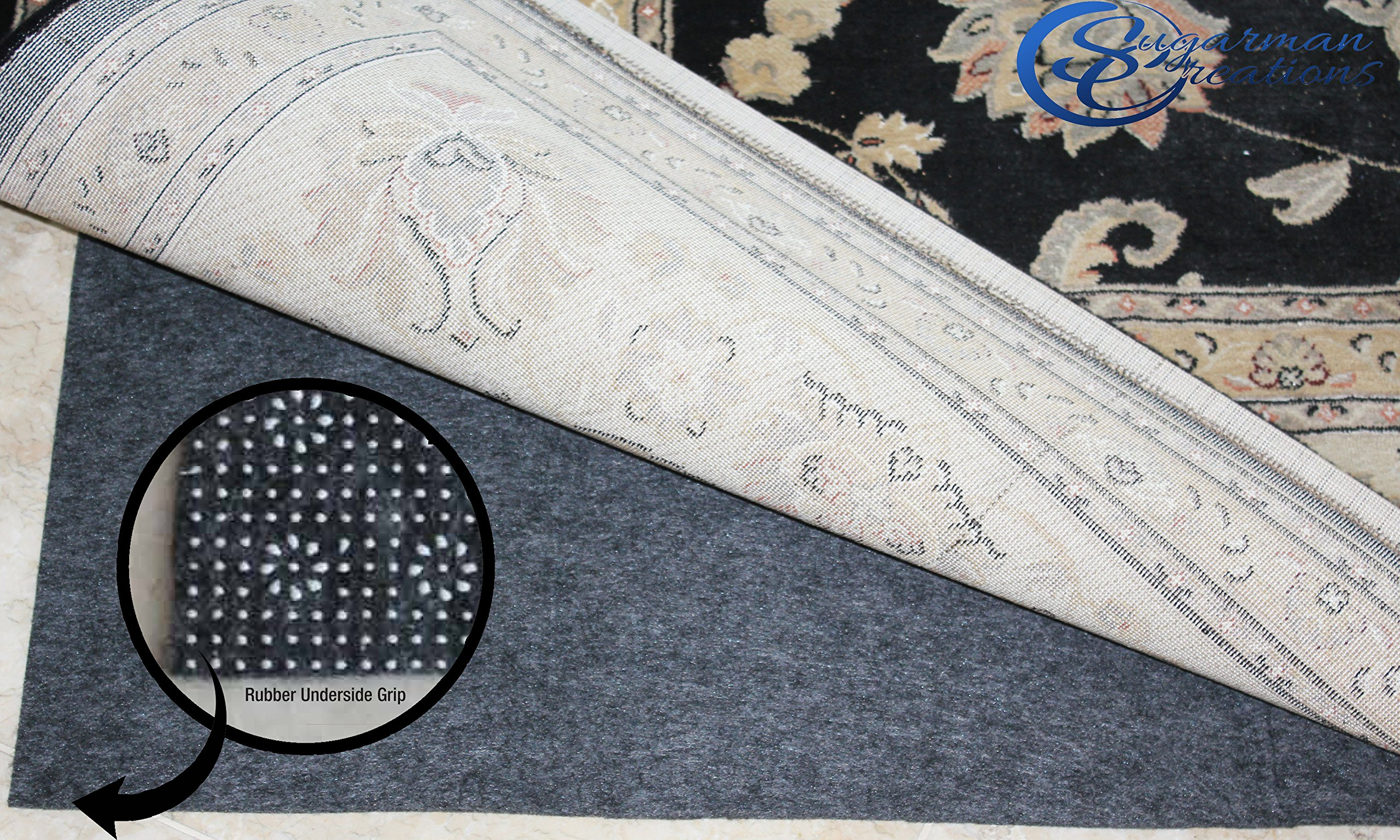Sugarman Creations LIMITED SUMMER SALE!! Non Slip Rug Pad 100% Felt and Rubber Extra Cushioned FOR VALUE AND QUALITY Comfort and Protection Reversible (3ft x 5ft)