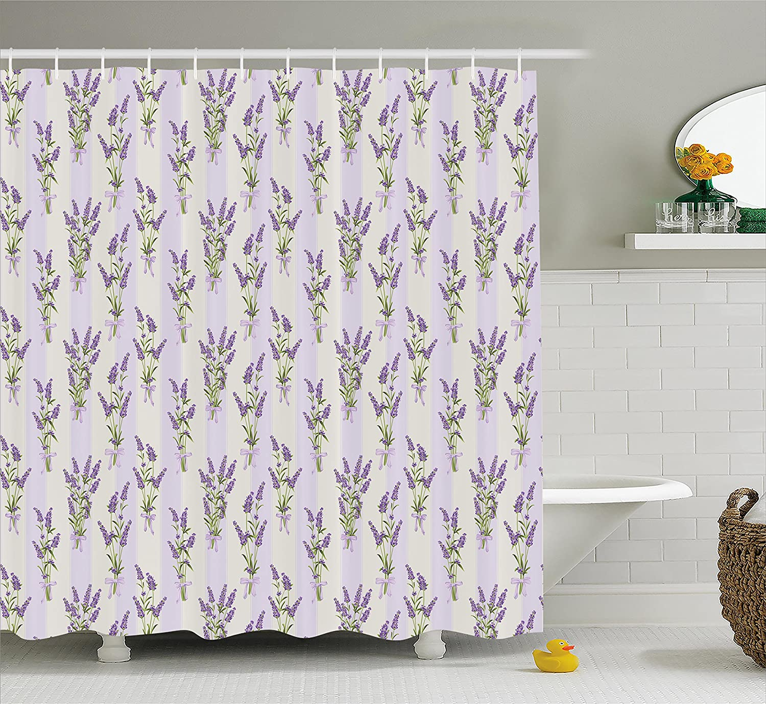 Ambesonne Lavender Shower Curtain Set Stripes And Flowers With Ribbons Romantic Country Home Decorations Spring Season Design Fabric Bathroom Decor