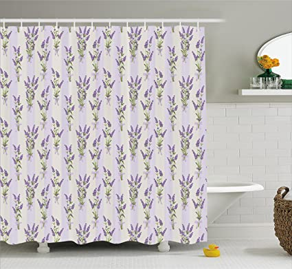 Ambesonne Lavender Shower Curtain Set Stripes And Flowers With Ribbons Romantic Country Home Decorations Spring