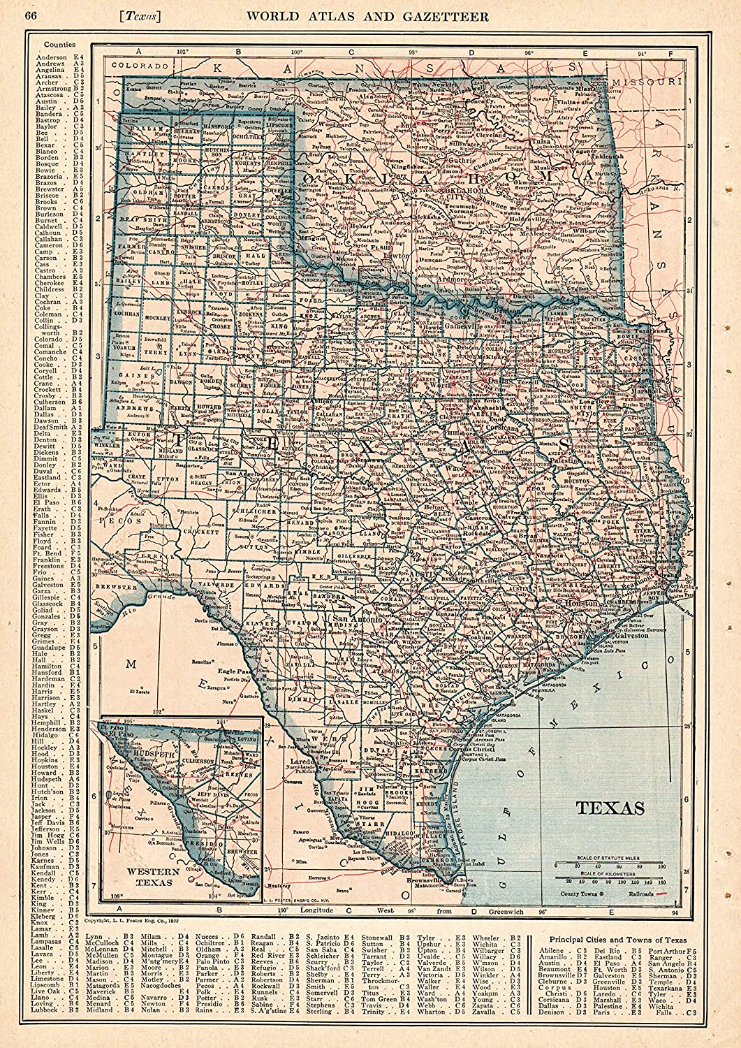 Amazon Com 1921 Antique Texas State Map Original Vintage Map Of