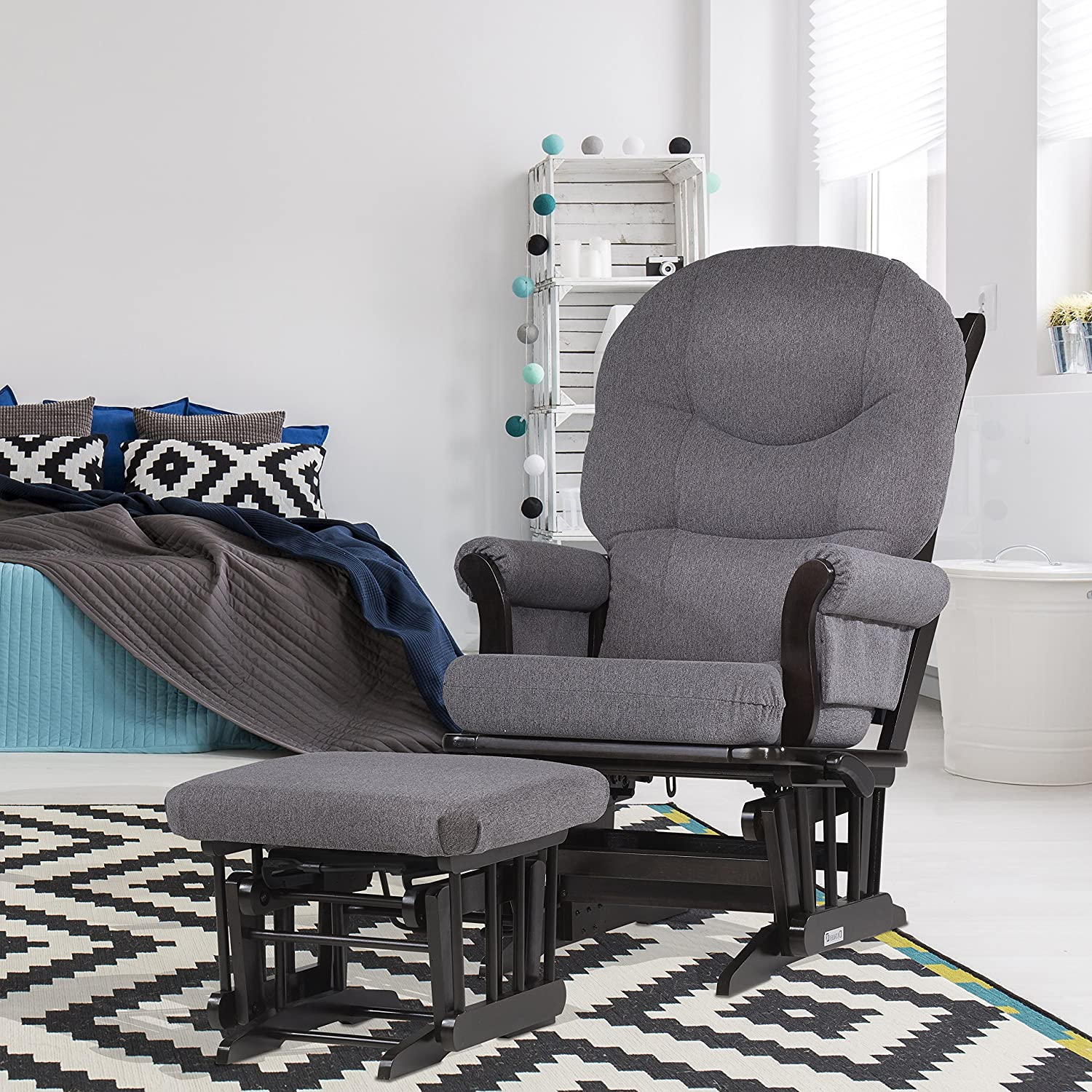 amazoncom dutailier sleigh recline and ottoman combo grey baby - Reclining Glider