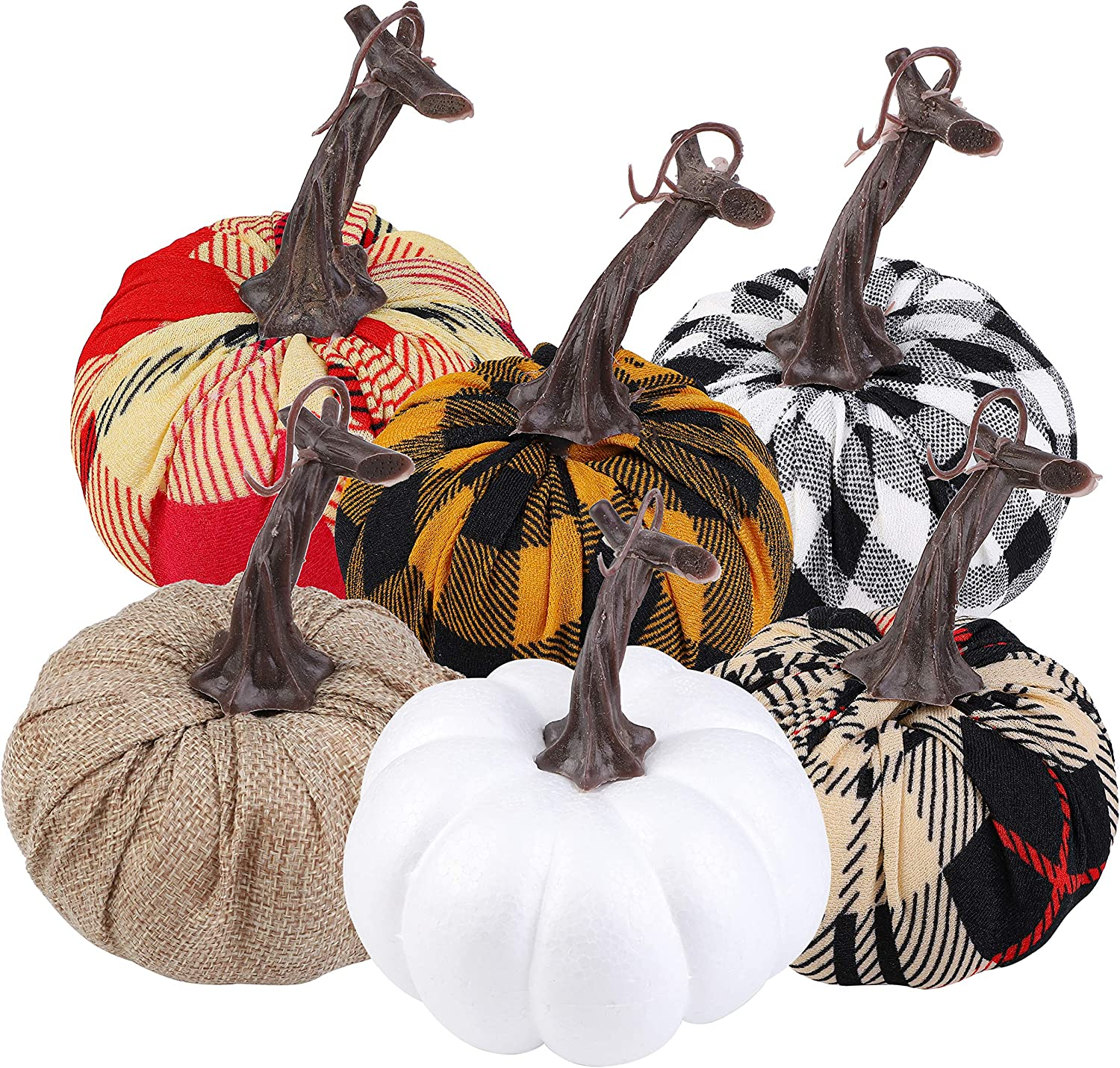Aneco 6 Pack 4.7 Inches Artificial Pumpkins Assorted Harvest Decor Fabric Lifelike Decoration Pumpkins for Thanksgiving Seasonal Holiday Tabletop Decoration