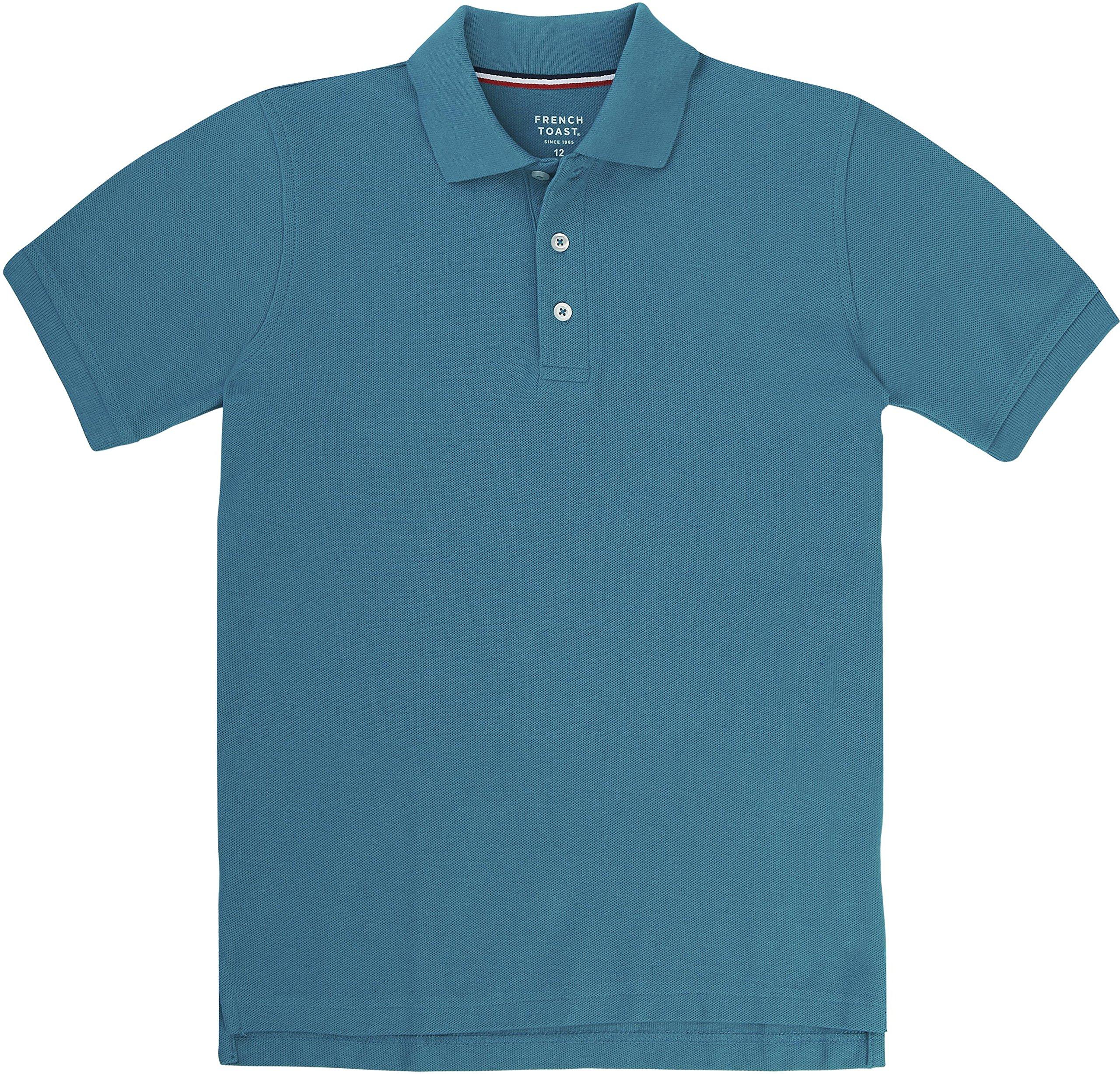 French Toast School Uniform Boys Short Sleeve Pique Polo Shirt, Teal, Medium (8)