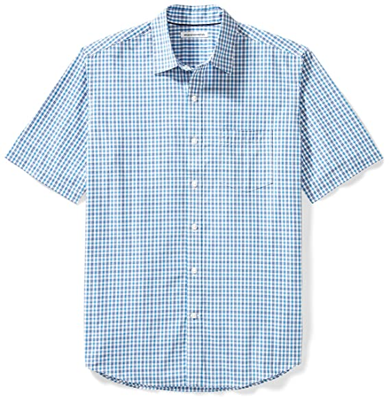 Amazon Essentials Men s Regular-Fit Short-Sleeve Plaid Casual Poplin Shirt 843246fd4abd
