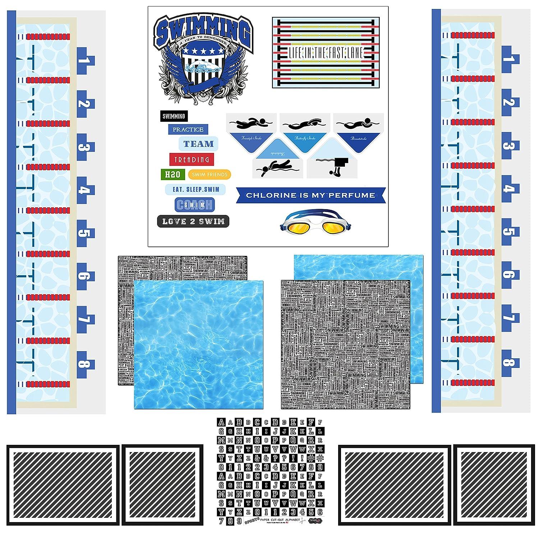 Swimming Sport Paper Scrapbook Customs Themed Scrapbook Kit