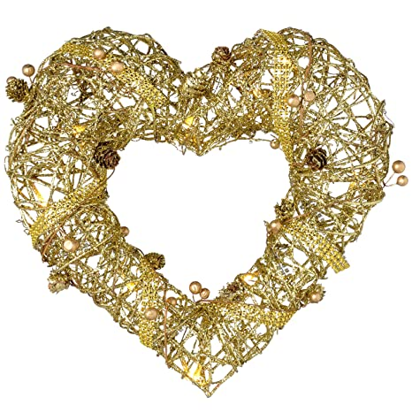 60 cm Rattan Pre-Lit Warm White LED Heart with Gold Beads and Pinecones
