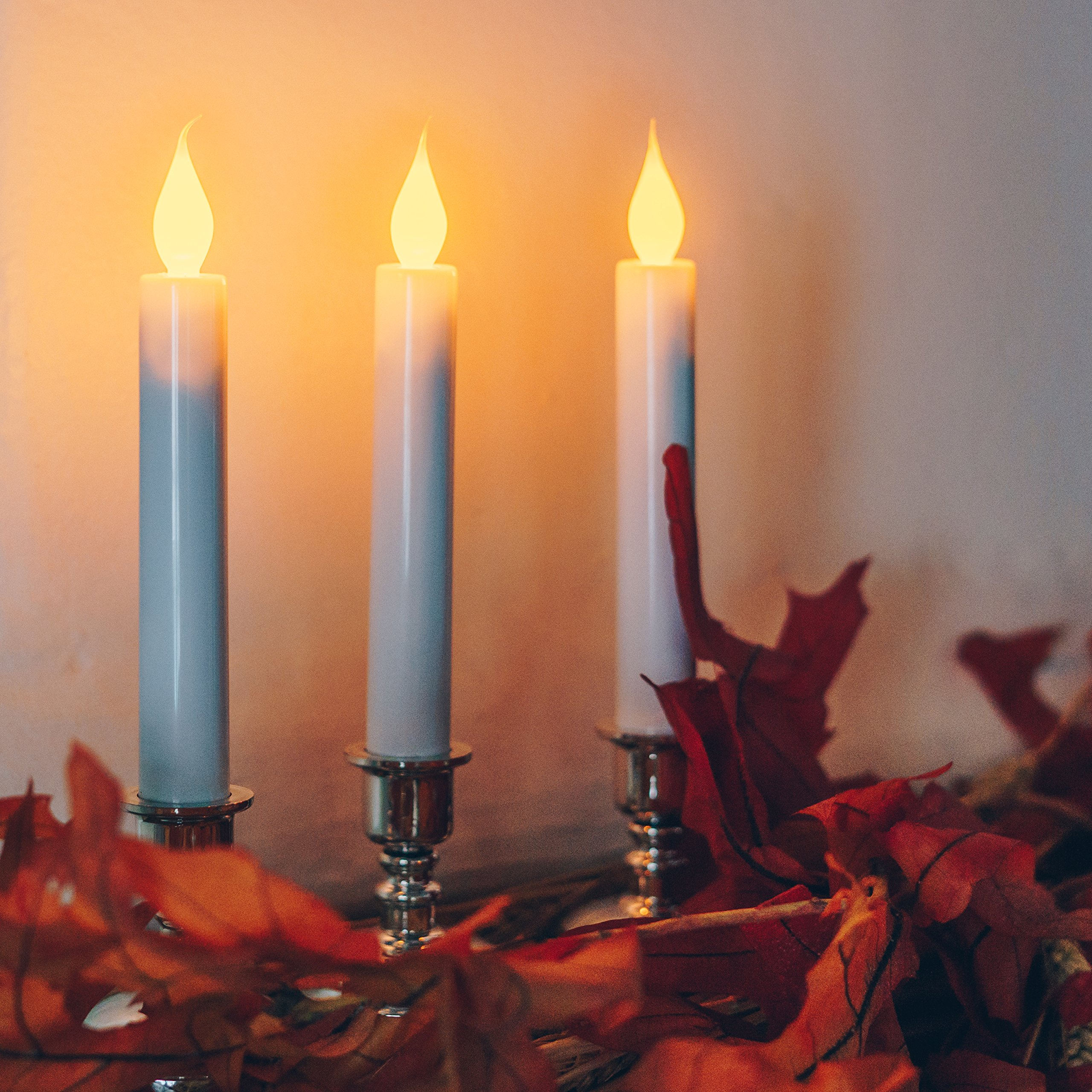 Set of 10 Flameless White Taper Window Candles with Removable Silver Candleholders with Timer and Remote, Batteries Included by Enchanted Spaces (Image #4)