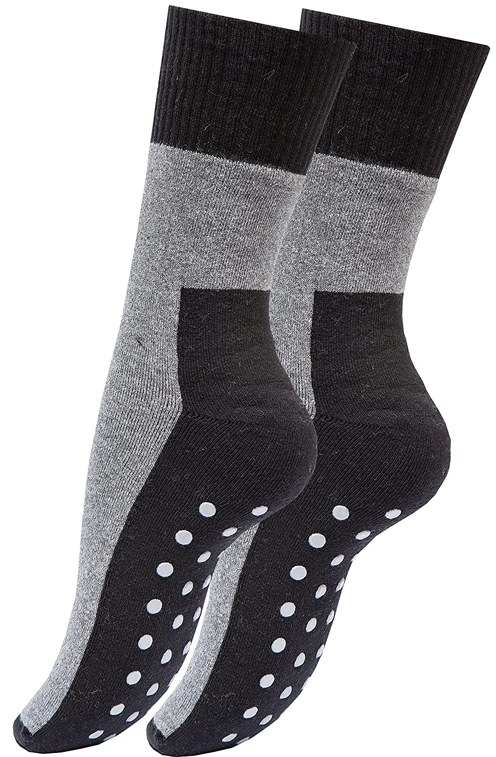 Vincent Creation 2, 4 oder 6 Paar ABS Socken Vollplüsch, Anti Rutsch Socken Stoppersocken Bi-Color Schwarz/Grau 2097 Unisex