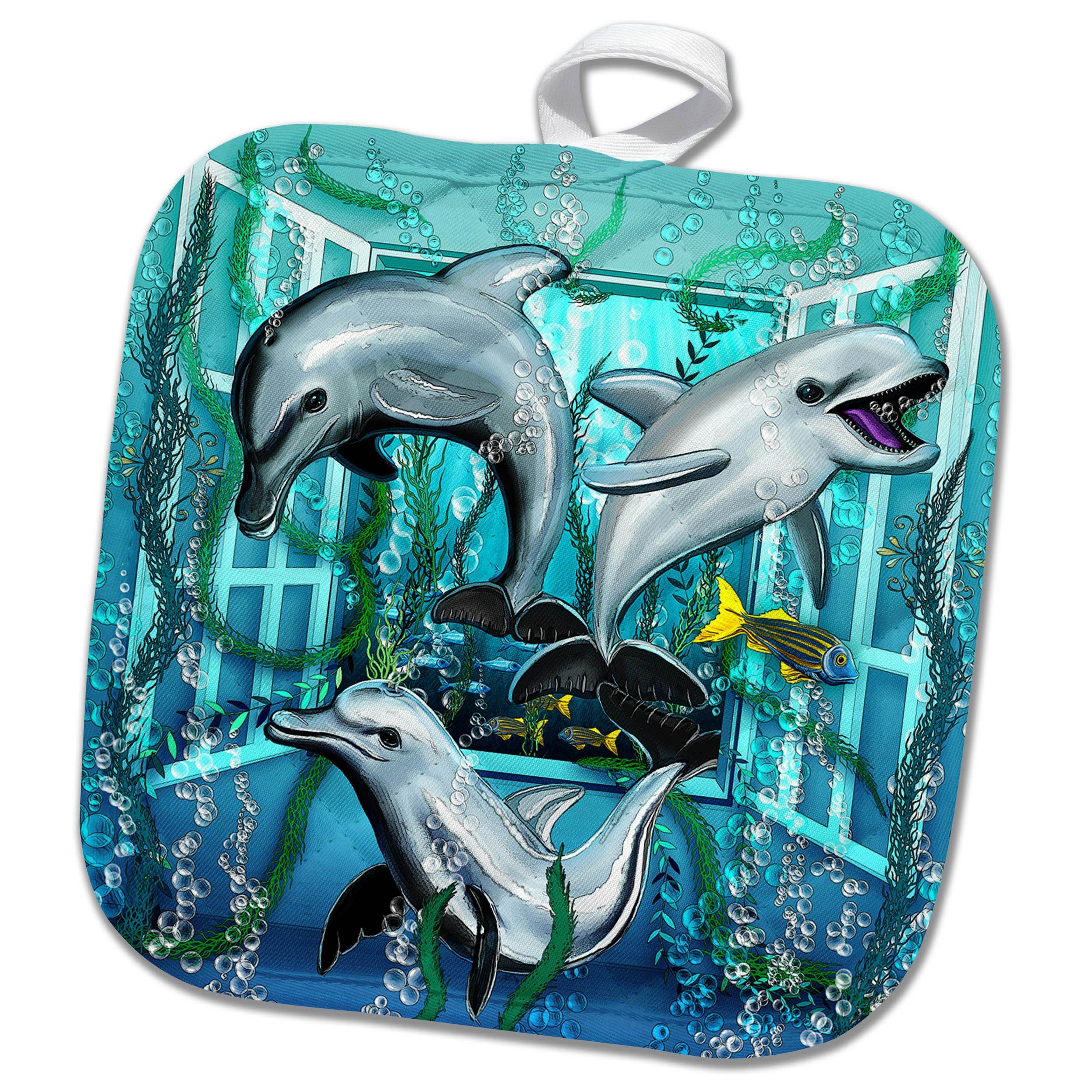 3dRose Dream Essence Designs-The Ocean - Three lively dolphins swim through an open window under the sea - 8x8 Potholder (phl_266090_1)